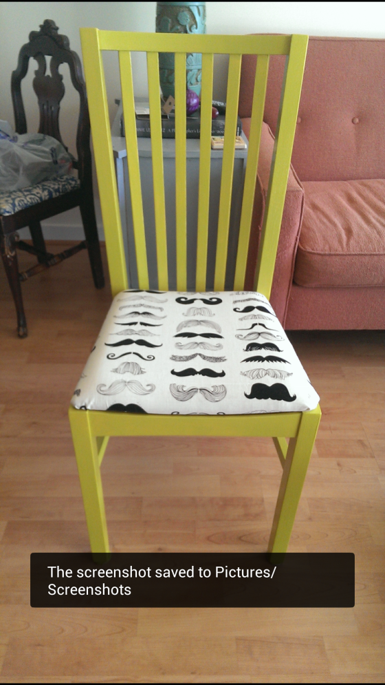 is that a mustache on your chartreuse chair?